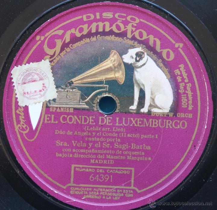 Discos de pizarra: DISCO DE GRAMOFONO: EL CONDE DE LUXEMBURGO - PARTE I Y PATE II - Foto 2 - 39775521