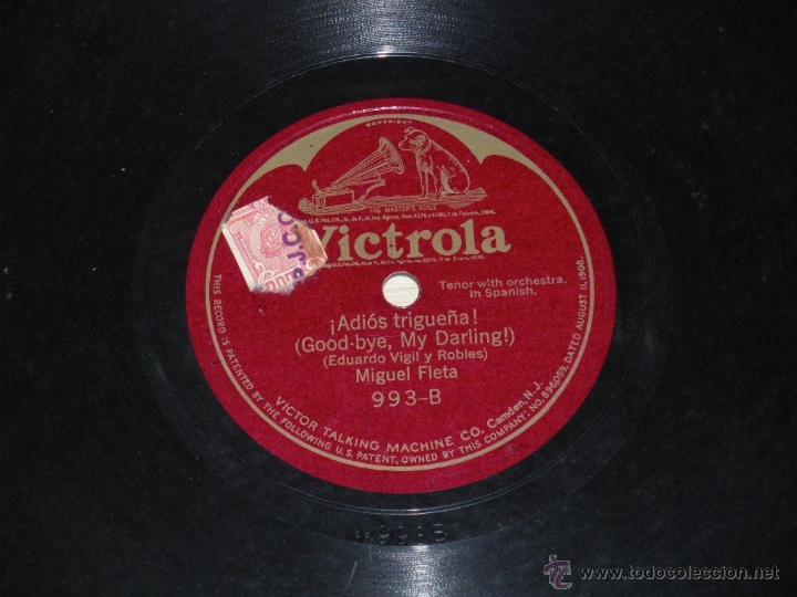 Discos de pizarra: Disco de pizarra Victrola 993. Miguel Fleta - mi tierra / adios trigueña - . - Foto 2 - 39829059