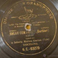 Discos de pizarra: DISCO PIZARRA GRAMOFONO GRAMOPHONE HANOVER TRADE MARK JUGAR CON FUEGO DIAMETRO 25. Lote 39851827