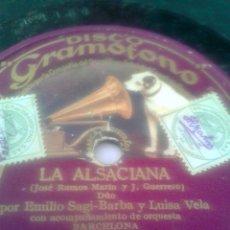 Discos de pizarra: DISCO GRAMOFONO- LA ALSACIANA- POR EMILIO SAGI-BARBA Y LUISA VELA -. Lote 39890346