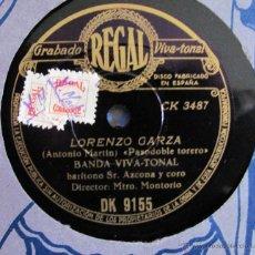 Discos de pizarra: BANDA VIVA TONAL - LORENZO GARZA / ESE ES EL MIO - DISCO PIZARRA 78 RPM. Lote 39898269