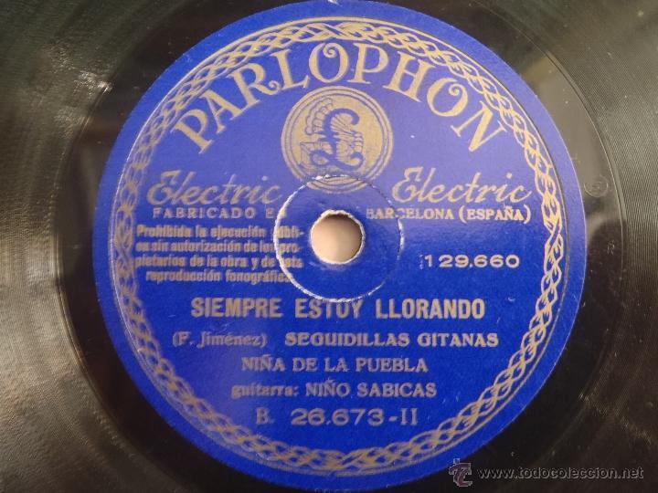 DISCO DE PIZARRA AMOR GITANO CAMPANILLEROS SIEMPRE ESTOY LLORANDO F.RAZA GITANA NIÑA DE LA PUEBLA (Música - Discos - Pizarra - Flamenco, Canción española y Cuplé)
