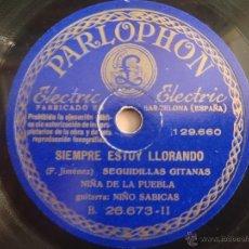 Shellac Records - DISCO DE PIZARRA AMOR GITANO CAMPANILLEROS SIEMPRE ESTOY LLORANDO F.RAZA GITANA NIÑA DE LA PUEBLA - 39950237