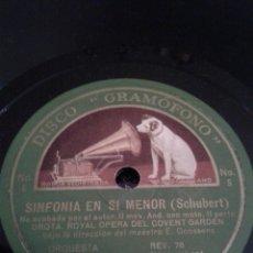 Discos de pizarra: DISCO GRAMOFONO Nº 5-6 SINFONIA EN SI MENOR- ( SCHUBERT-). Lote 39995211