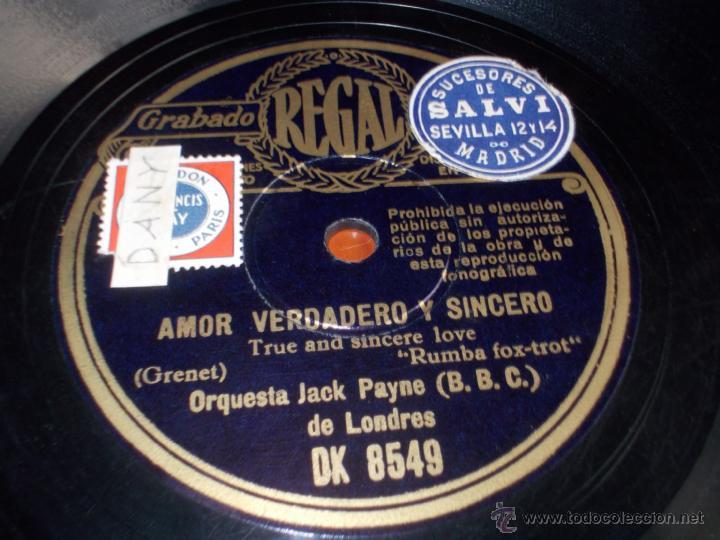 DISCO REGAL AMOR VERDADERO Y SINCERO Y FIESTA (Música - Discos - Pizarra - Jazz, Blues, R&B, Soul y Gospel)
