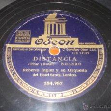 Discos de pizarra: DISCO ODEON MANO GENEROSA Y DISTANCIA. Lote 40036583