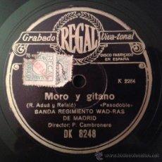 Discos de pizarra: BANDA REGIMIENTO WAD-RAS DE MADRID - MORO Y GITANO (PASODOBLE) / LA TELESFORA (JAVA). Lote 40301976