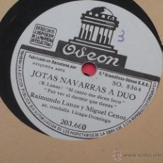 Discos de pizarra: JOTAS NAVARRAS A DUO ( RAIMUNDO LANAS ) DICE QUE ME HA DE MATAR SI CANTO ME DICEN LOCO POR VER EL D. Lote 40710016