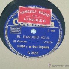 Discos de pizarra: EL DANUBIO AZUL TEJADA Y SU GRAN ORQUESTA EL CABALLERO DE LA ROSA STRAUSS. Lote 40710194