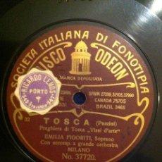 Discos de pizarra: ANTIGUO DISCO PIZARRA TOSCA. PUCCINI.PREGHIERA DI TOSCA.VISSI DI ARTE.EMILIA FIGORITI.PLINIO GABARDI. Lote 40759882