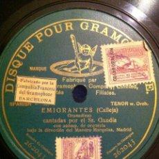 Discos de pizarra: ANTIGUO DISCO PIZARRA EMIGRANTES. CALLEJA. GRANADINAS CANTADAS POR EL SEÑOR GANDÍAS.BONITO GRABADO. . Lote 40759920