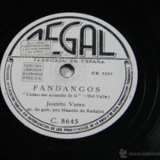Discos de pizarra: DISCO DE PIZARRA JUANITO VAREA - REGAL C 8645 - FANDANGOS (COMO ME ACUERDO DE TI) - TU CARA MORENA -. Lote 40823281