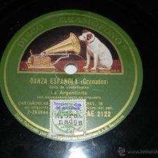 Discos de pizarra: LA ARGENTINITA. DISCO DE PIZARRA 78 RPM. LA VOZ DE SU AMO. DE ALCAÑIZ / DANZ ESPAÑOLA - CON ACOMPAÑA. Lote 40981254