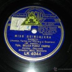 Discos de pizarra: DISCO PIZARRA ORIGINAL SELICA PÉREZ CARPIO Y EL BARITONO FRANCISCO LATORRE - MI MANTÓN / SCHOTTISH.. Lote 40982783