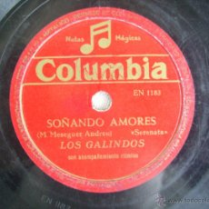 Discos de pizarra: DISCO DE PIZARRA COLUMBIA . LOS GALINDOS / LUISA LINARES . SOÑANDO AMORES - MI CABALLO VOLADOR. Lote 41123841