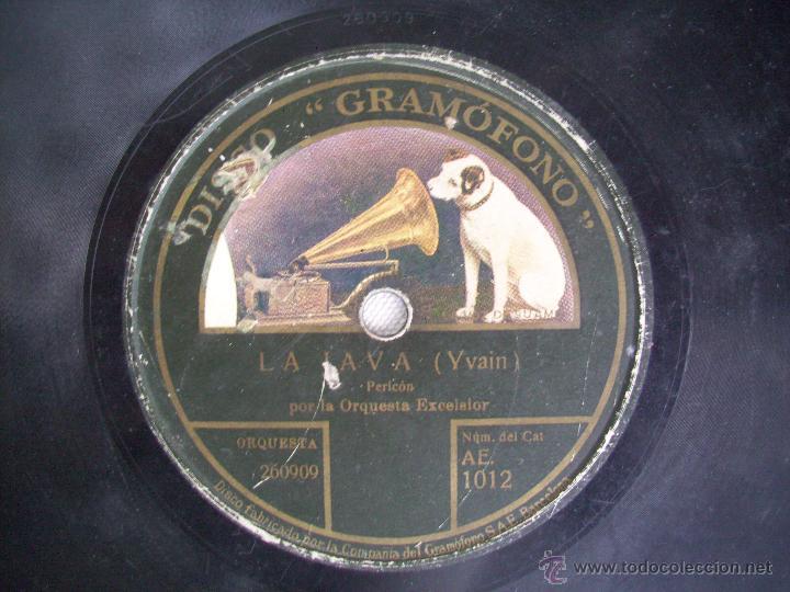 DISCO PIZARRA GRAMOFONO LA VOZ DE SU AMO . ORQUESTA EXCELSIOR . LA JAVA / ORAN (Música - Discos - Pizarra - Bandas Sonoras y Actores )