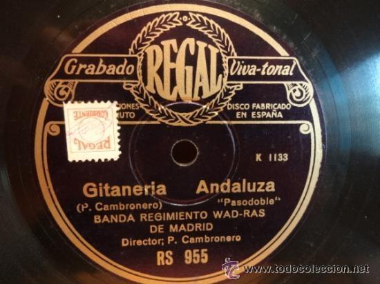 Discos de pizarra: PIZARRA !! BANDA REGIMIENTO WAD-RAS DE MADRID. EL ATORNILLAO. SELLO REGAL 25 CM. *** LEER. - Foto 2 - 41239284