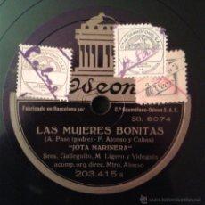 Discos de pizarra: GALLEGUITO/PERLITA GRECO -LAS MUJERES BONITAS- (A) JOTA MARINERA (B) DUETTINO DE PURITA Y GORITO. Lote 41241778