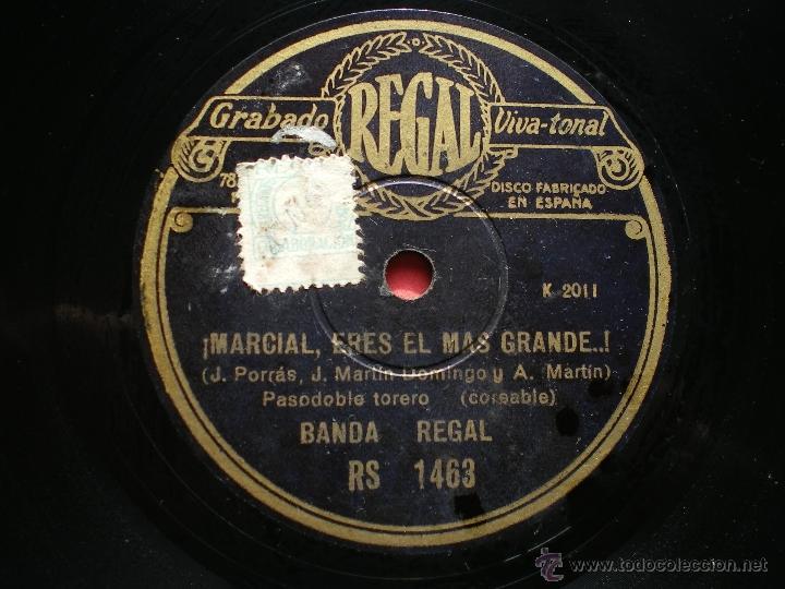 PIZARRA / MARCIAL ERES EL MAS GRANDE - AY TOMASA... RS 1463 PEPETO (Música - Discos - Pizarra - Clásica, Ópera, Zarzuela y Marchas)