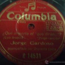 Discos de pizarra: DISCO DE PIZARRA JORGE CARDOSO YO TE CANTO,QUE IMPORTA EL QUE DIRAN X. Lote 41385320