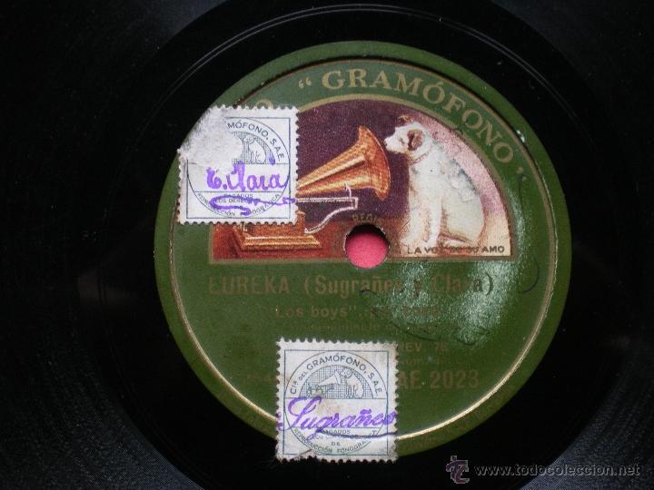 Discos de pizarra: PIZARRA / EUREKA SUGRAÑES Y CLARA MARCHA MILITAR - LOS BOYS PEPETO - Foto 2 - 41402567