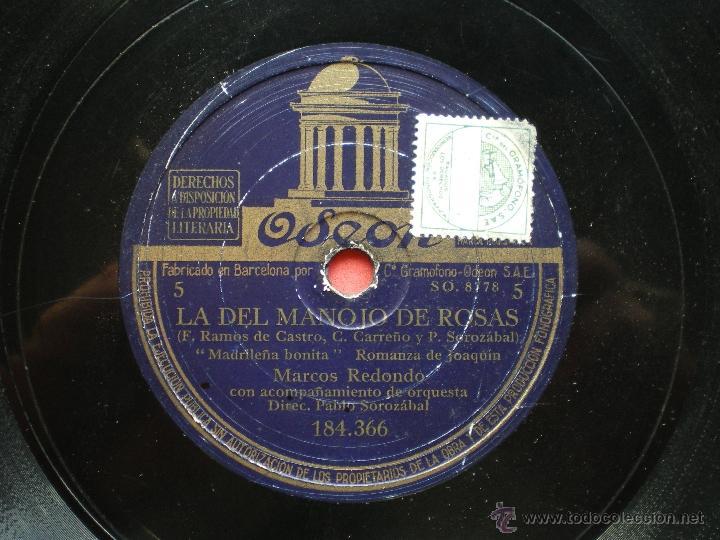 Discos de pizarra: PIZARRA / LA DEL MANOJO DE ROSAS MARCOS REDONDO 184.366 pepeto - Foto 2 - 41423088