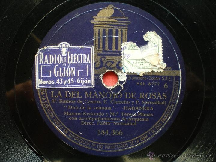 Discos de pizarra: PIZARRA / LA DEL MANOJO DE ROSAS MARCOS REDONDO 184.366 pepeto - Foto 3 - 41423088