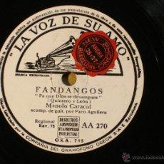 Discos de pizarra: MANOLO CARACOL - PA QUE DIOS TE DESAMPARE (OKA795) / TU BOCA (OKA799) - LA VOZ DE SU AMO AA270. Lote 41428411