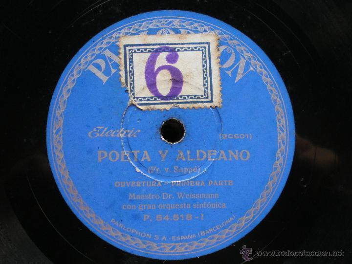 Discos de pizarra: PIZARRA / POETA Y ALDEANO OPERTURA 1º PARTE -2º PARTE 30CM P.54.518 PEPETO - Foto 2 - 41448297