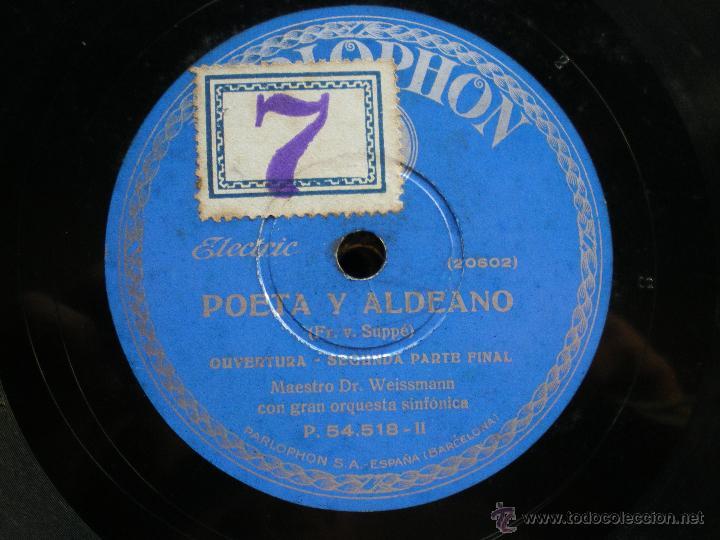 Discos de pizarra: PIZARRA / POETA Y ALDEANO OPERTURA 1º PARTE -2º PARTE 30CM P.54.518 PEPETO - Foto 3 - 41448297