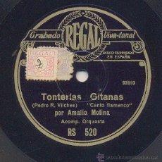 Discos de pizarra: AMALIA MOLINA: TONTERIAS GITANAS + EL JUEVES SANTO EN SEVILLA. Lote 41990423