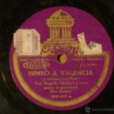 Discos de pizarra: ROGELIO BLADRICH - HIMNO A VALENCIA / GRAN BANDA - LA CANCION DEL SOLDADO - ODEON 129.017. Lote 42032017
