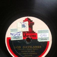 Discos de pizarra: LOS GAVILANES.(GUERRERO Y RAMOS MARTÍN ) SALIDA DE JUAN. TEN. EMILIO VENDRELL. LA ROSA. Lote 42212131