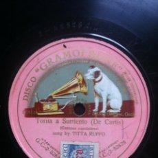 Discos de pizarra: TORNA A SURRIENTO ( DE CURTIS ). CANZONE NAPOLETANA. SUNG BY TITTA RUFFO. GRABADO POR LA OTRA CARA.. Lote 42212181
