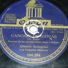 Discos de pizarra: DISCO DE PIZARRA ALBERTO SEMPRINI, FANTASIAS RITMICAS N.8 / CANCION DE HAWAII, 184594, TIENE UN DESC. Lote 42339495