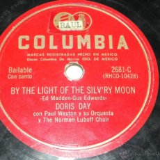 Discos de pizarra: DISCO DE PIZARRA DORIS DAY CON PAUL WESTON Y SU ORQUESTA, WHEN THE RED / BY THE LIGHT OF THE SILVRY . Lote 42340441