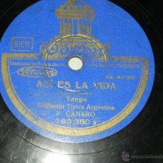 Discos de pizarra: 78 RPM, DISCO DE PIZARRA DE TANGOS, F. CANARO, ODEON 183.380, ORQUESTA TIPICA ARGENTINA, UNA GAUCHAD. Lote 42341243