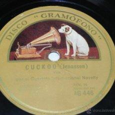 Discos de pizarra: DISCO DE PIZARRA DEL CUARTETO INTERNACIONAL NOVELTY, LENA / CUCKOO, SCHOTIS / VALS, MEWES / JONASSON. Lote 42341295
