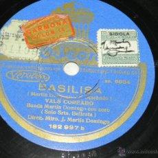 Dischi in gommalacca: DISCO DE PIZARRA DE LA BANDA MARTIN DOMINGO CON CORO, BASILISA / BALDOMERA (PASODOBLE MILITAR COREAD. Lote 42341601