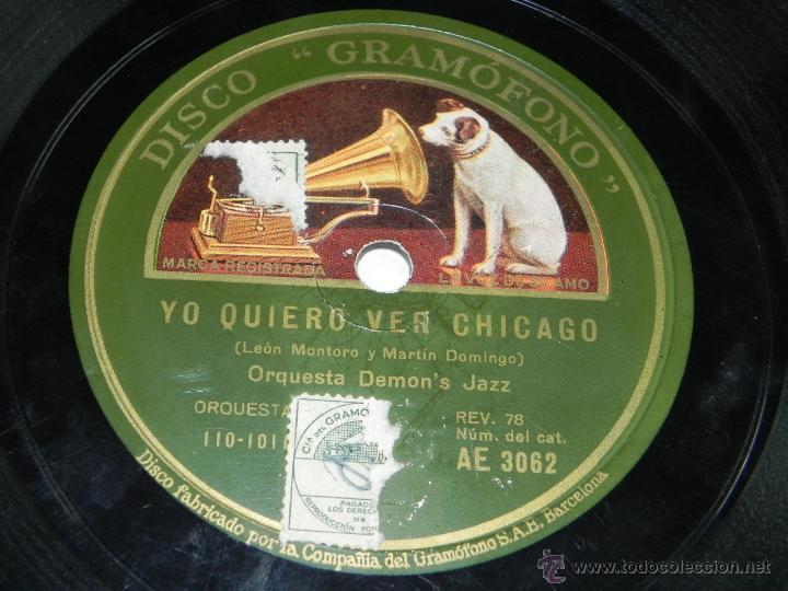 DISCO PIZARRA DE ORQUESTA DEMON'S JAZZ. MIGUELITO / YO QUIERO VER CHICAGO, ED. LA VOZ DE SU AMO, AE (Música - Discos - Pizarra - Jazz, Blues, R&B, Soul y Gospel)