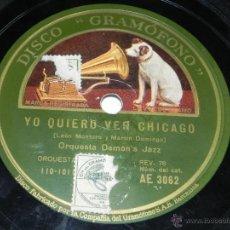 Discos de pizarra: DISCO PIZARRA DE ORQUESTA DEMON'S JAZZ. MIGUELITO / YO QUIERO VER CHICAGO, ED. LA VOZ DE SU AMO, AE . Lote 42343850