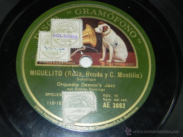 Discos de pizarra: DISCO PIZARRA DE ORQUESTA DEMON'S JAZZ. MIGUELITO / YO QUIERO VER CHICAGO, ED. LA VOZ DE SU AMO, AE - Foto 2 - 42343850