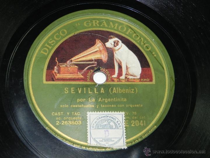 DISCO DE PIZARRA LA ARGENTINITA - CÁDIZ Y SEVILLA DE ALBÉNIZ - DISCO GRAMÓFONO AE 2041- BUEN ESTADO. (Música - Discos - Pizarra - Flamenco, Canción española y Cuplé)