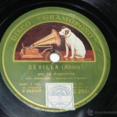 Discos de pizarra: DISCO DE PIZARRA LA ARGENTINITA - CÁDIZ Y SEVILLA DE ALBÉNIZ - DISCO GRAMÓFONO AE 2041- BUEN ESTADO.. Lote 42344682