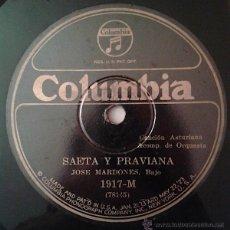 Discos de pizarra: JOSE MARDONES - SAETA Y PRAVIANA (CANCIÓN ASTURIANA) / OS TEUS OLLOS (CANCIÓN GALLEGA) 78RPM. Lote 42435062