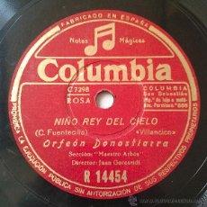 Discos de pizarra: ORFEÓN DONOSTIARRA - NIÑO REY DEL CIELO / VENID A BELEN (78RPM). Lote 42436835