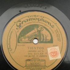 Discos de pizarra: -FLAMENCO- SRTA. SOLER (ROSARIO SOLER) - TIENTOS / MALAGUEÑAS ACOMP. DE GUITARRA. Lote 42571750