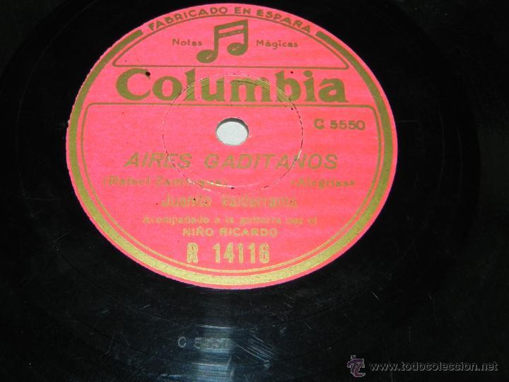 DISCO DE PIZARRA DE FLAMENCO. JUANITO VALDERRAMA, ACOMPAÑADO A LA GUITARRA POR EL NIÑO RICARDO, COLU (Música - Discos - Pizarra - Bandas Sonoras y Actores )