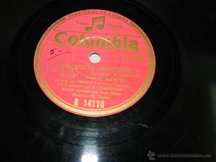 Discos de pizarra: Disco de pizarra de flamenco. JUANITO VALDERRAMA, acompañado a la guitarra por el Niño Ricardo, COLU - Foto 3 - 43005496