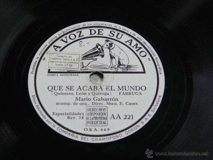 Discos de pizarra: Disco de pizarra. MARIO GABARRON acompañado a la guitarra por Melchor de Marchena, LA VOZ DE SU AMO - Foto 3 - 43005982